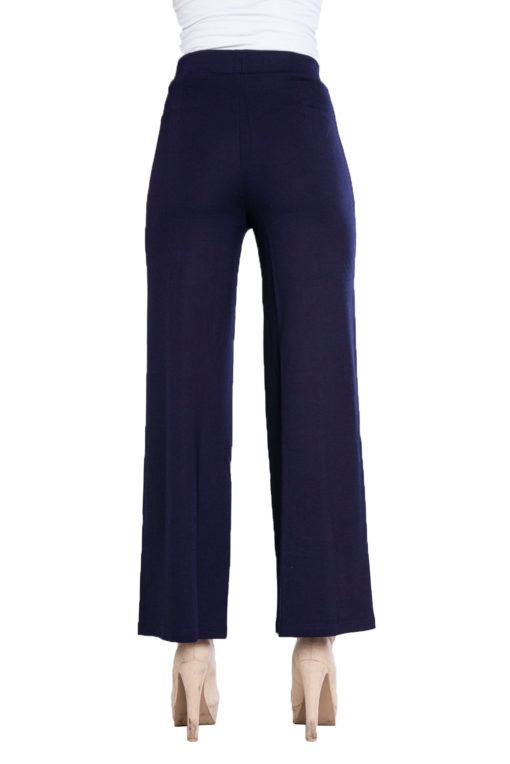 side button navy culotte pants- back