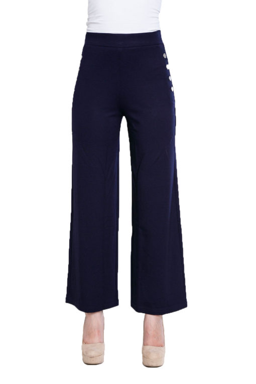 side button navy culotte pants- front