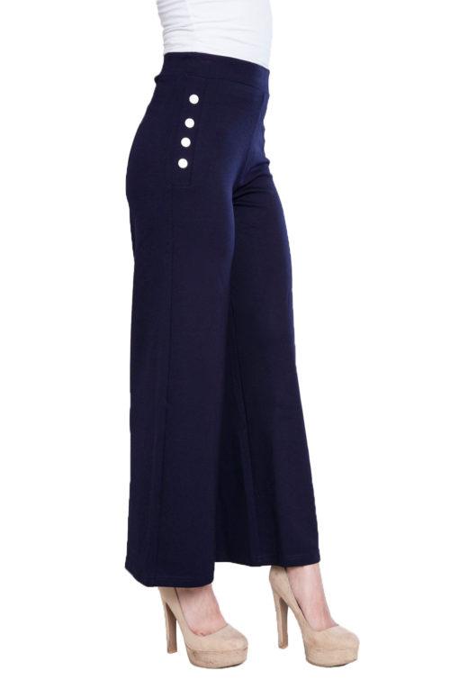 side button navy culotte pants- side