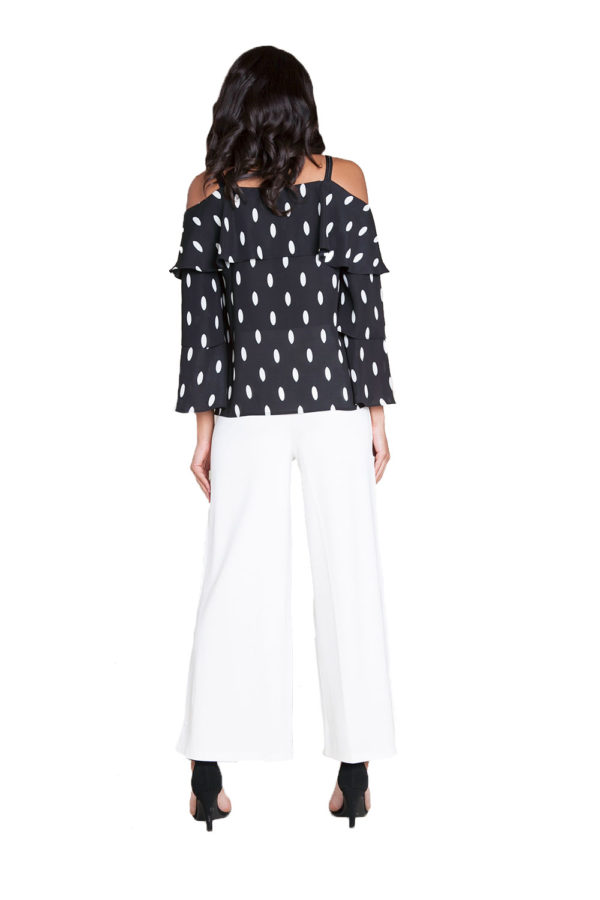 white side snap wide leg pants- back