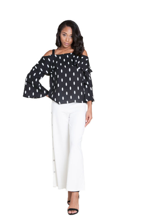 white side snap wide leg pants- front