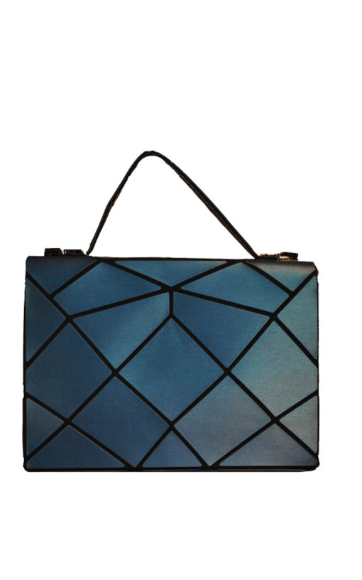 TEAL AND GOLD MULTI GEOMETRIC LOCK FRONT MINI BAG- BACK