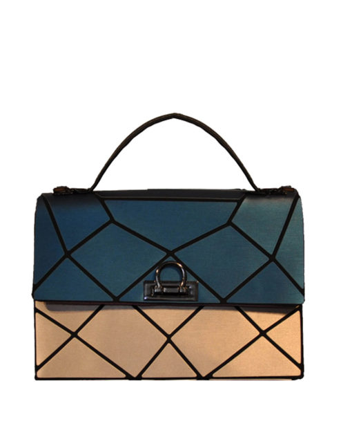 TEAL AND GOLD MULTI GEOMETRIC LOCK FRONT MINI BAG- FRONT
