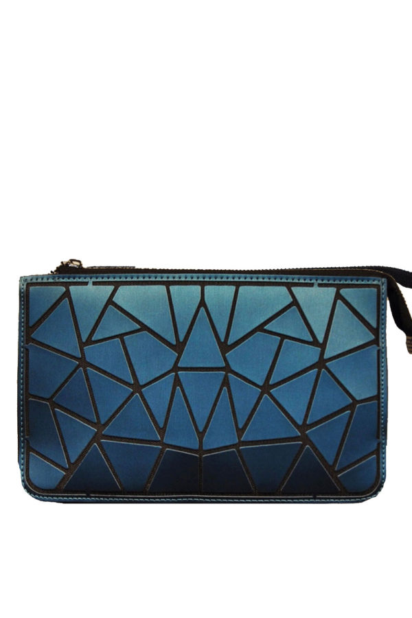 MATTE TEAL GEOMETRIC WALLET WITH ZIP- FRONT