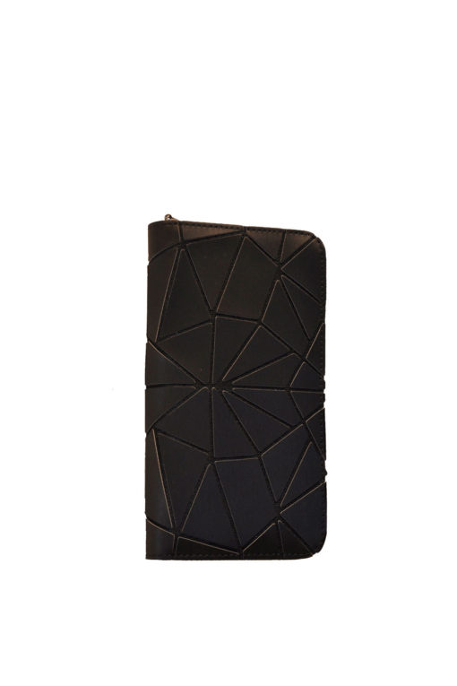 BLACK GEOMETRIC WALLET WITH ZIPPER- FRONT