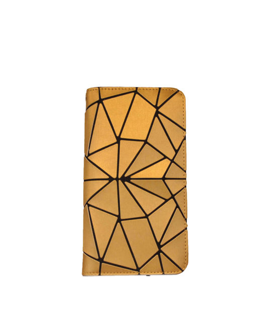 MATTE GOLD GEOMETRIC WALLET WITH ZIP- FRONT