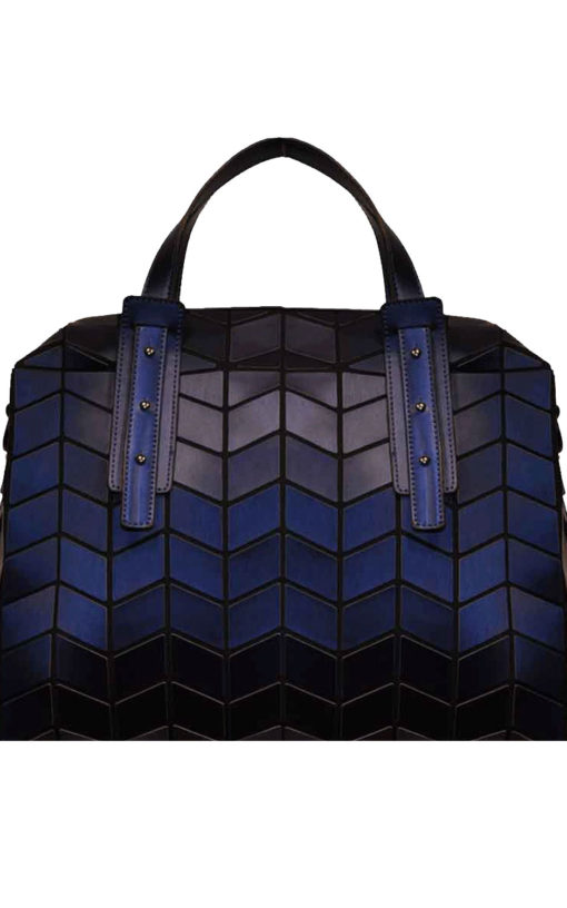 MATTE NAVY BLUE GEOMETRIC DUFFLE BAG- FRONT