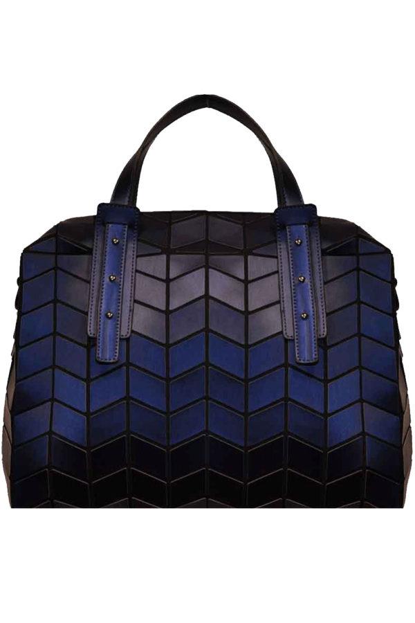 MATTE NAVY BLUE GEOMETRIC DUFFLE BAG- FRONT