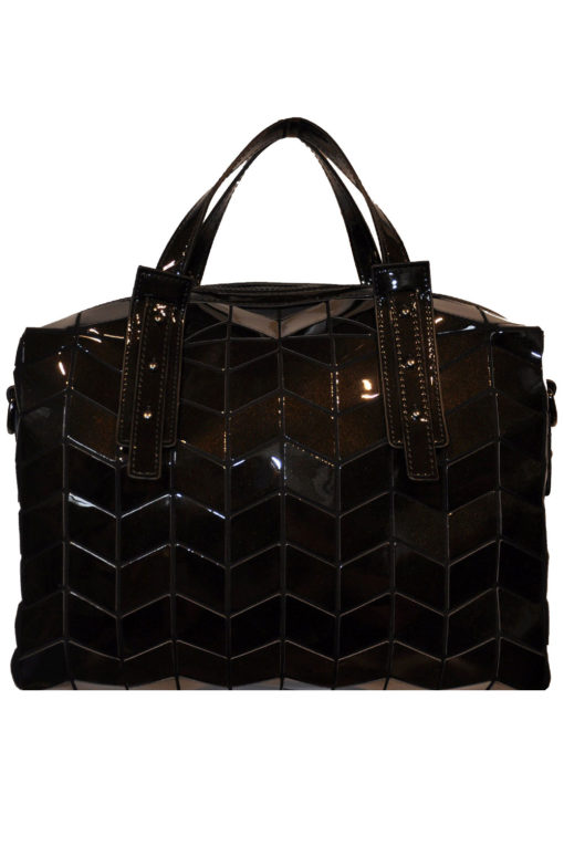 SHINY BLACK GEOMETRIC DUFFLE BAG- FRONT