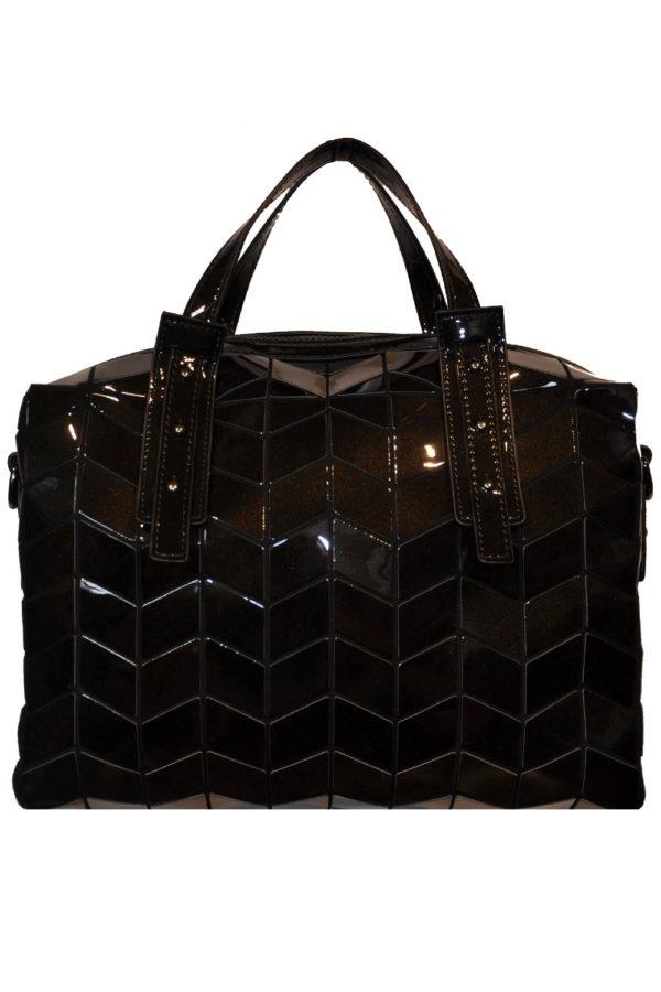 SHINY BLACK GEOMETRIC DUFFLE BAG- FRONT