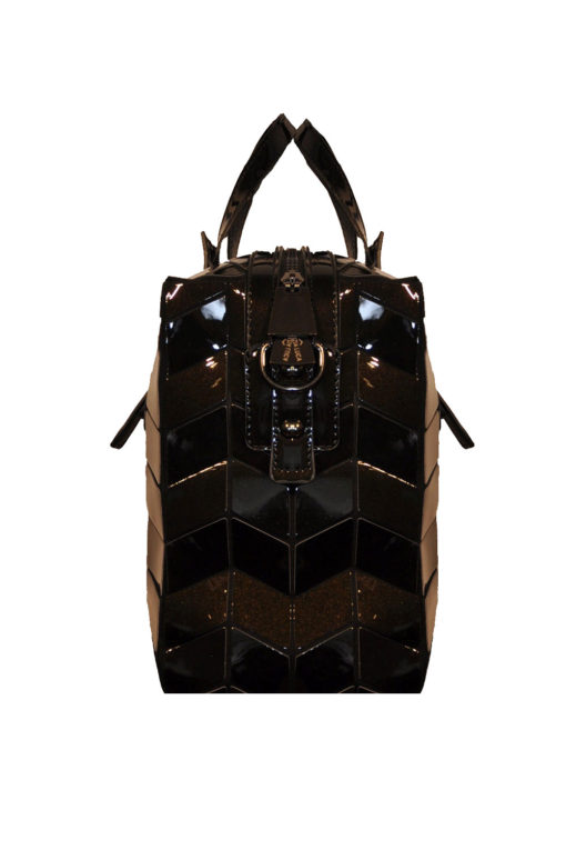 SHINY BLACK GEOMETRIC DUFFLE BAG- SIDE