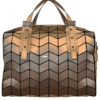 SHINY SILVER GEOMETRIC DUFFLE BAG- FRONT