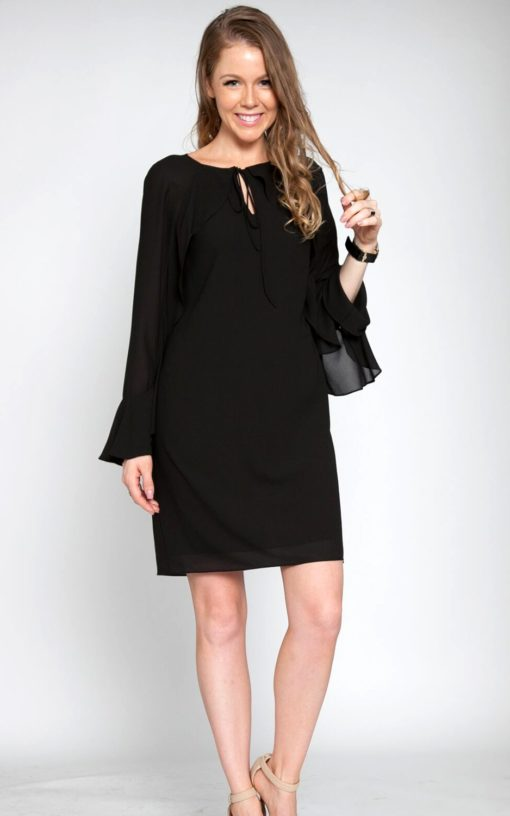black ruffle long sleeve mini dress front tie patrizia luca style Barami fashion streetstyle love shopping