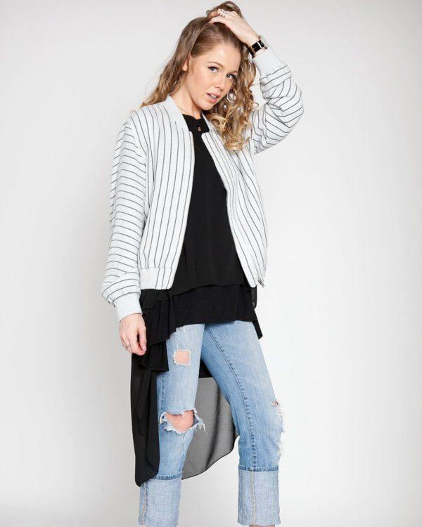 pinstripe bomber jacket lightweight outerwear grey patrizia luca style barami fashion fall trend shopping