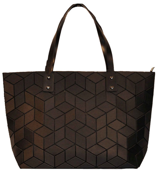 MATTE BLACK GEOMETRIC TOTE BAG- FRONT