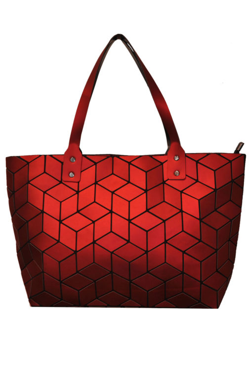 MATTE RED GEOMETRIC TOTE BAG- FRONT