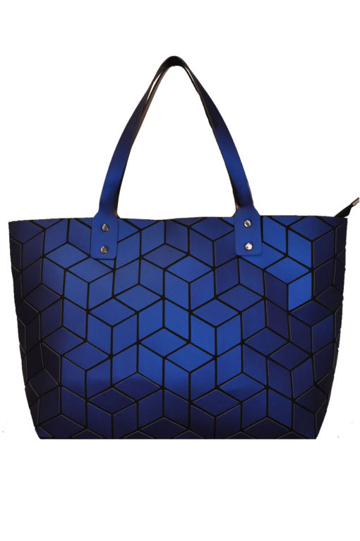 MATTE ROYAL BLUE GEOMETRIC TOTE BAG- FRONT