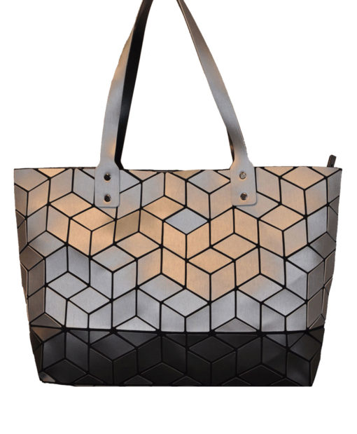 BLACK AND SILVER MULTI GEOMETRIC TOTE BAG- FRONT