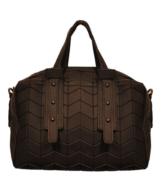 MATTE BLACK GEOMETRIC DUFFLE BAG- FRONT