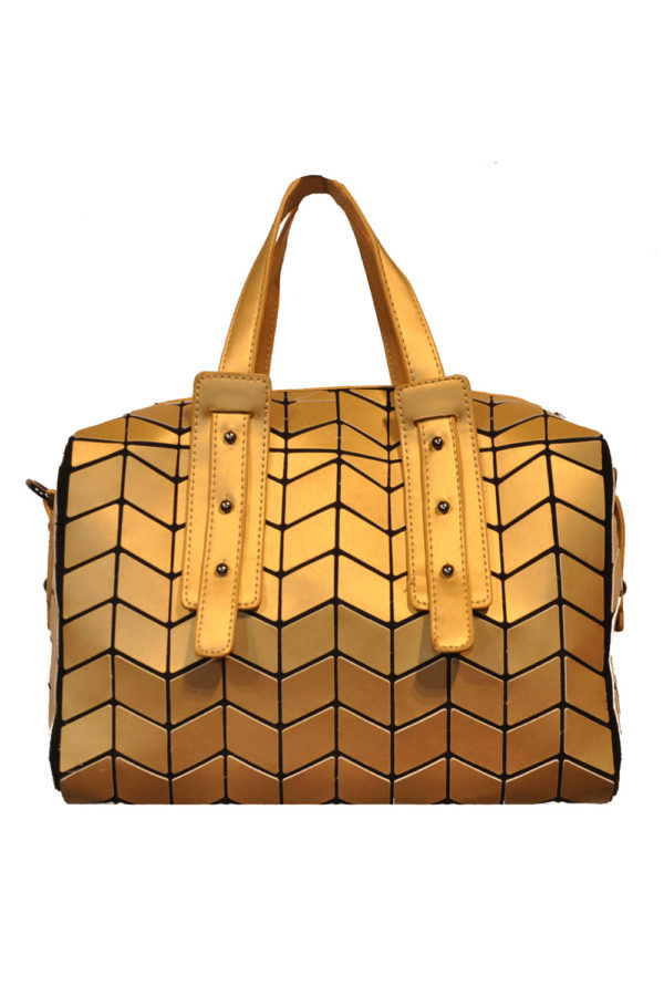 MATTE GOLD GEOMETRIC DUFFLE BAG- FRONT