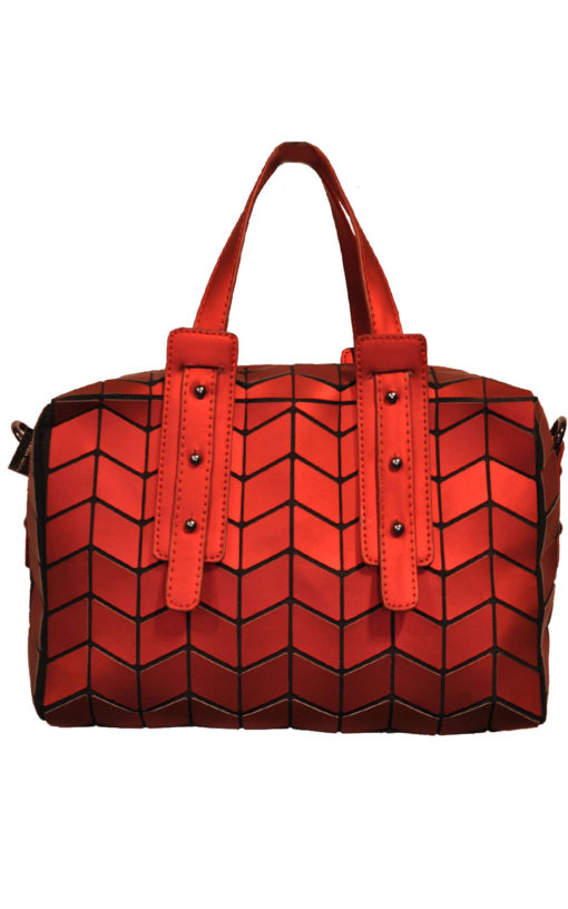 MATTE RED GEOMETRIC DUFFLE BAG- FRONT