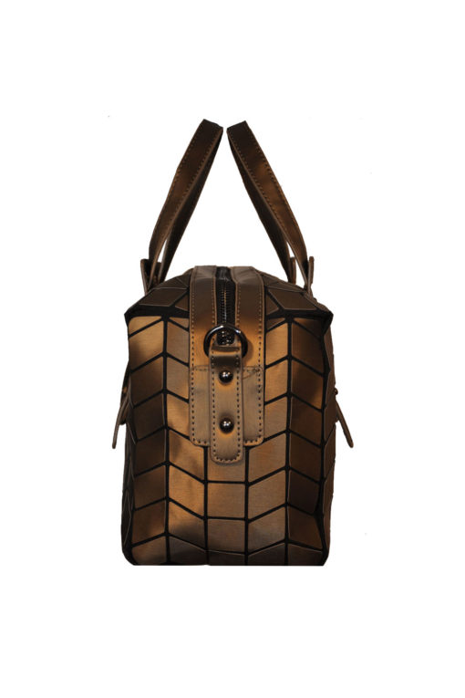 BRONZE GEOMETRIC DUFFLE BAG- SIDE