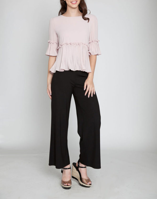 ruffle 3/4 sleeve pink top- front