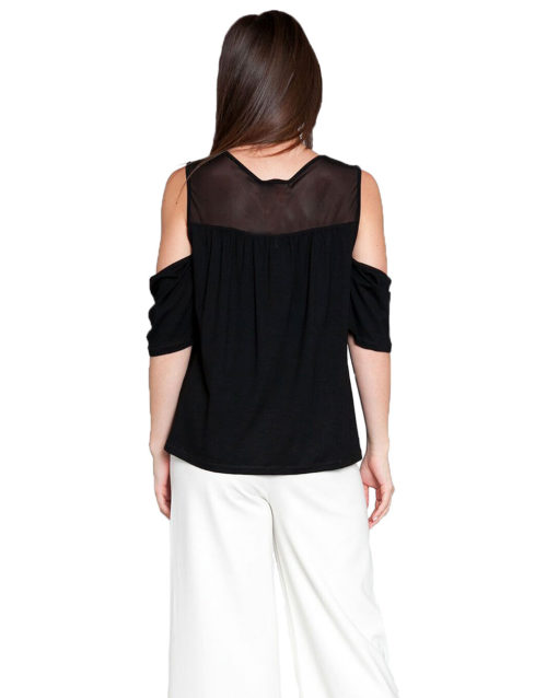 black mesh cold shoulder top- back
