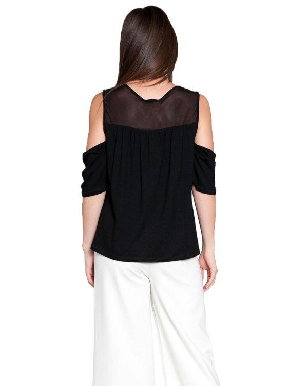 black mesh cold shoulder top- back