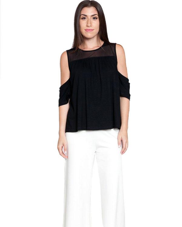 black mesh cold shoulder top- front
