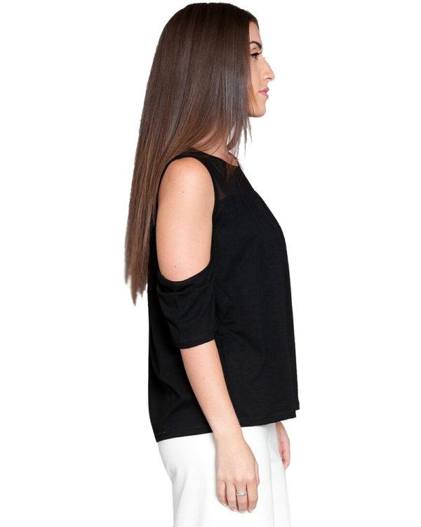 black mesh cold shoulder top- side