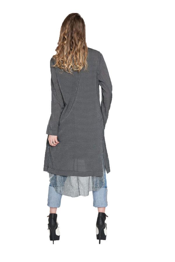 black and grey gingham duster jacket- back