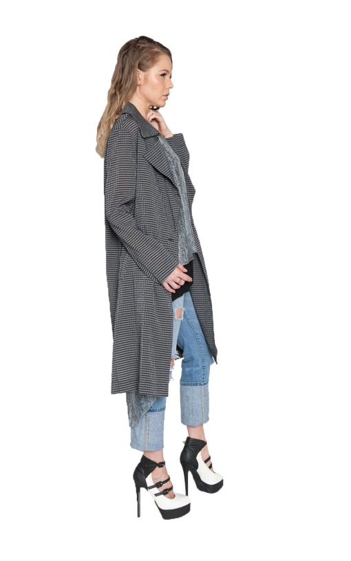 black and grey gingham duster jacket- side