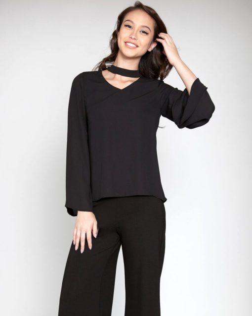 black trendy blouse choker top fall spring fashion trend style love NYC Barami patrizia luca
