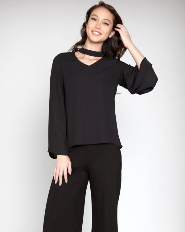 black trendy blouse choker top fall spring fashion trend style love NYC Barami patrizia luca