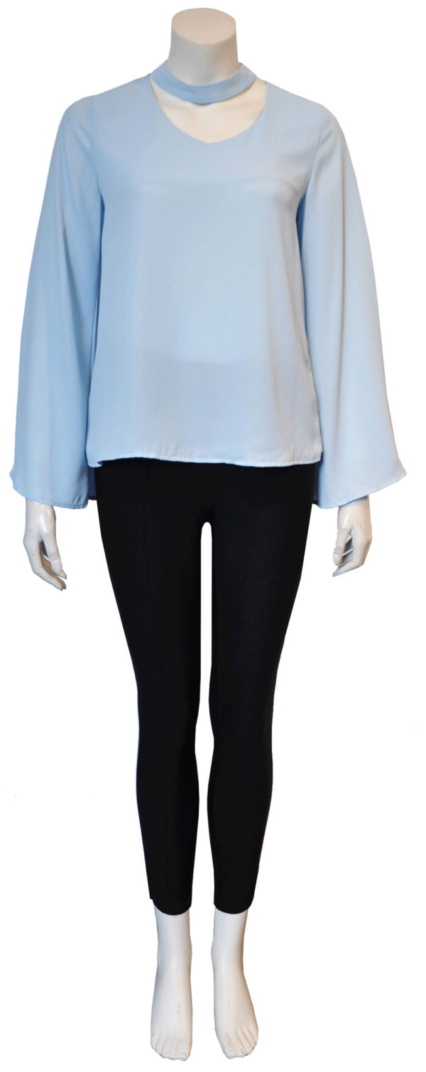 blue snap neck top- front
