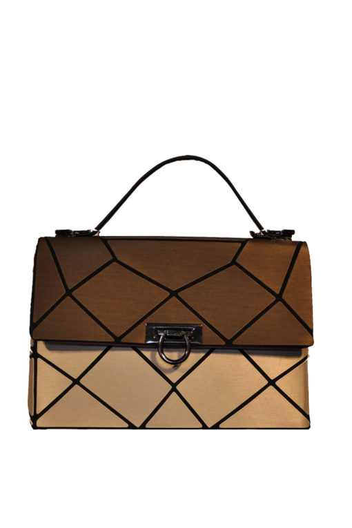 BRONZE AND GOLD MULTI GEOMETRIC LOCK FRONT MINI BAG- FRONT
