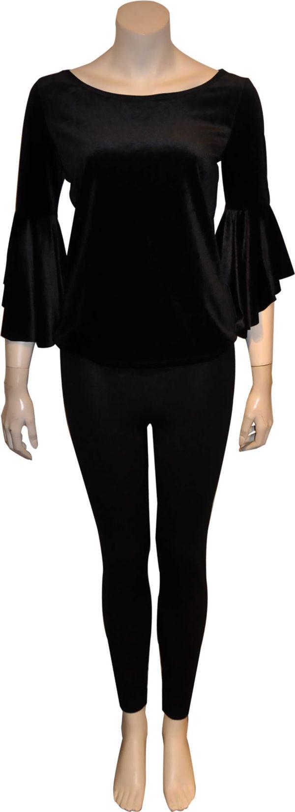 black velvet bell sleeve boat neck top- front