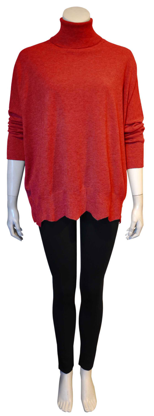 red knit turtleneck top with scallop hem- front