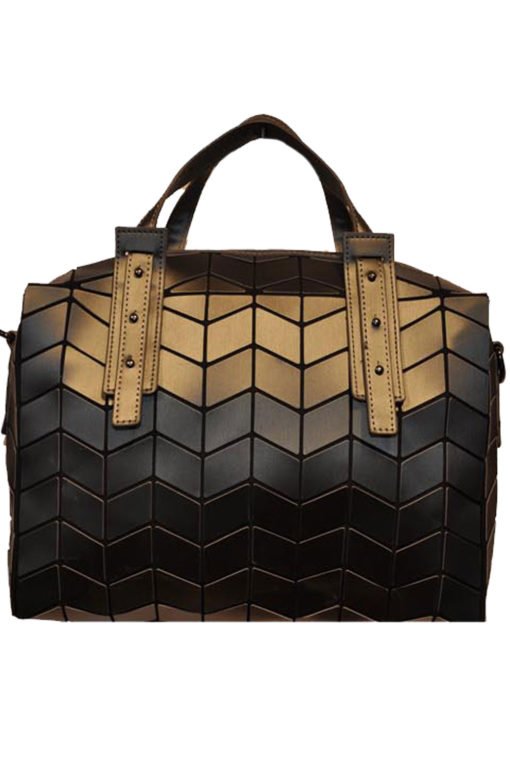 MATTE CHARCOAL GEOMETRIC DUFFLE BAG