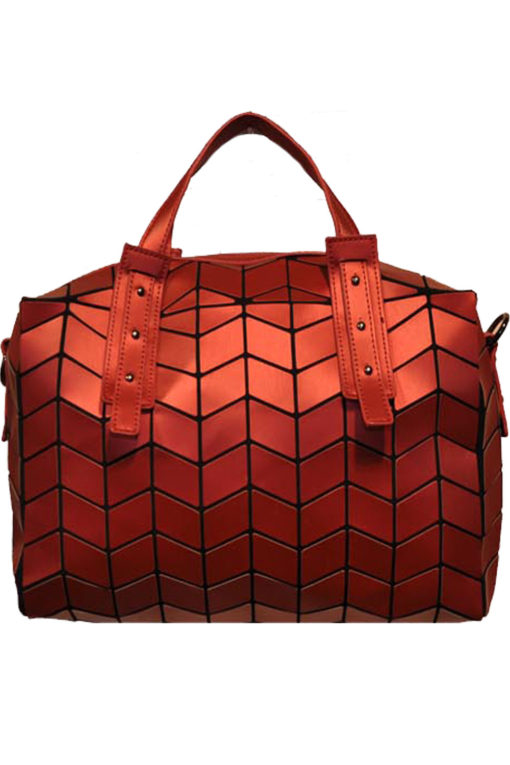 MATTE RED GEOMETRIC DUFFLE BAG