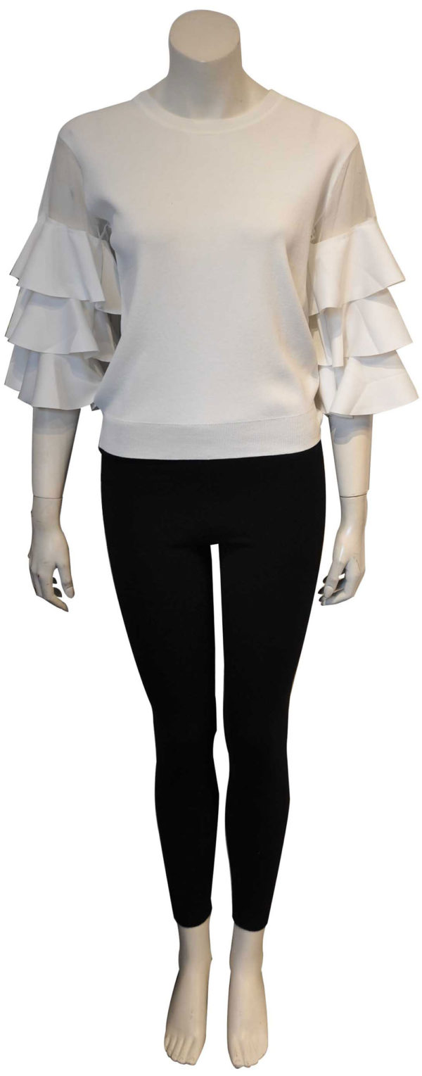 white knit ruffle top with mesh inserts- front