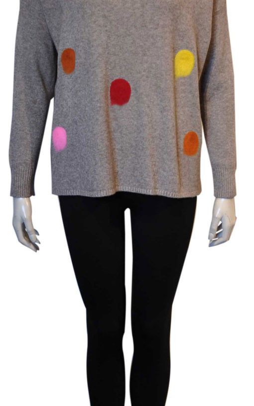 taupe polka dot knit sweater top- front