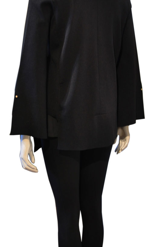 black deep v asymmetrical blazer- back