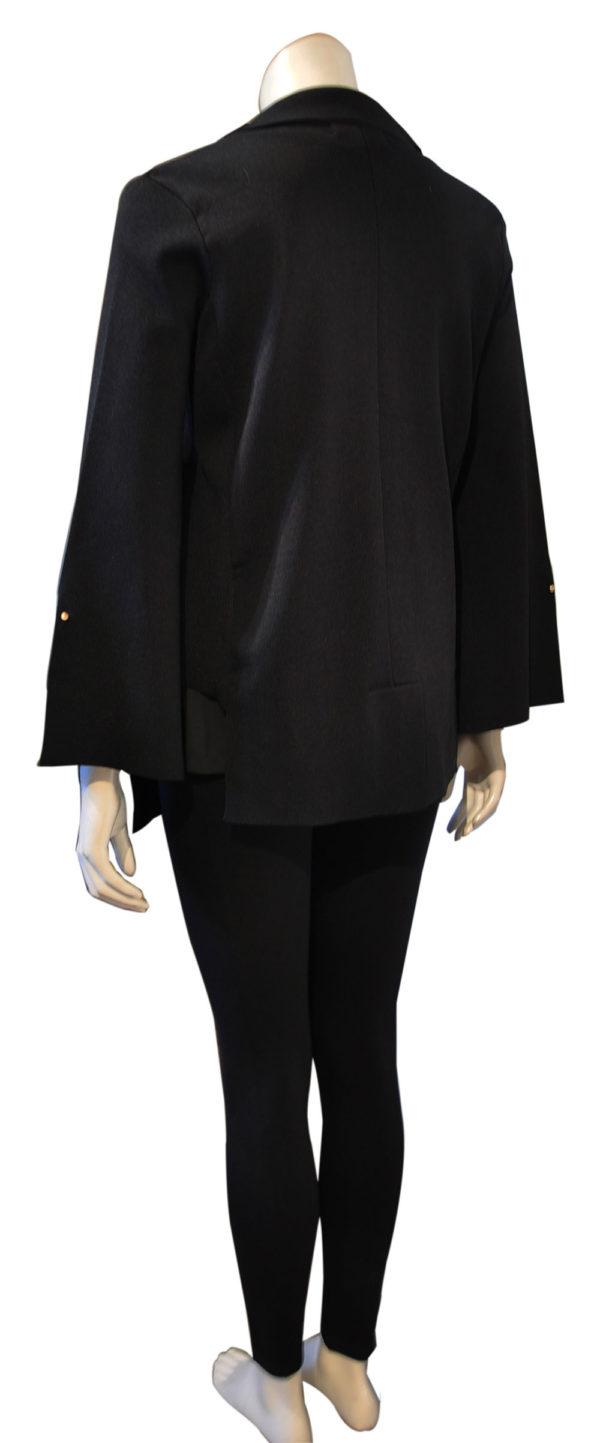 black deep v asymmetrical blazer- back