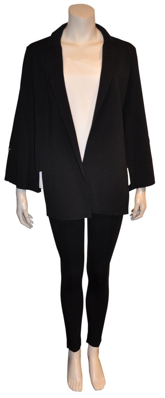 black deep v asymmetrical blazer- front