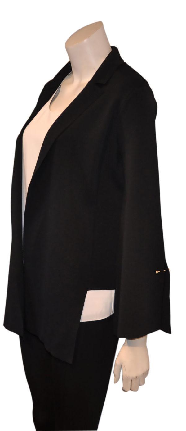black deep v asymmetrical blazer- side