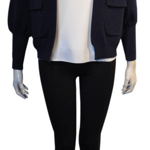 navy blue knit open cardigan sweater- front