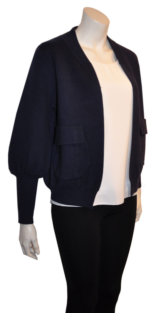 navy blue knit open cardigan sweater- side