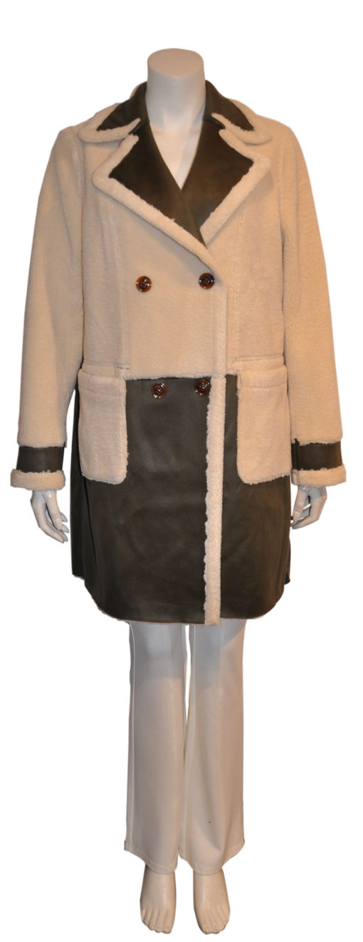 olive green reversible faux shearling coat- front